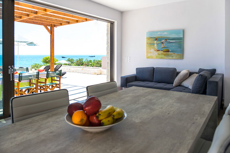 open plan dinning room with sea view